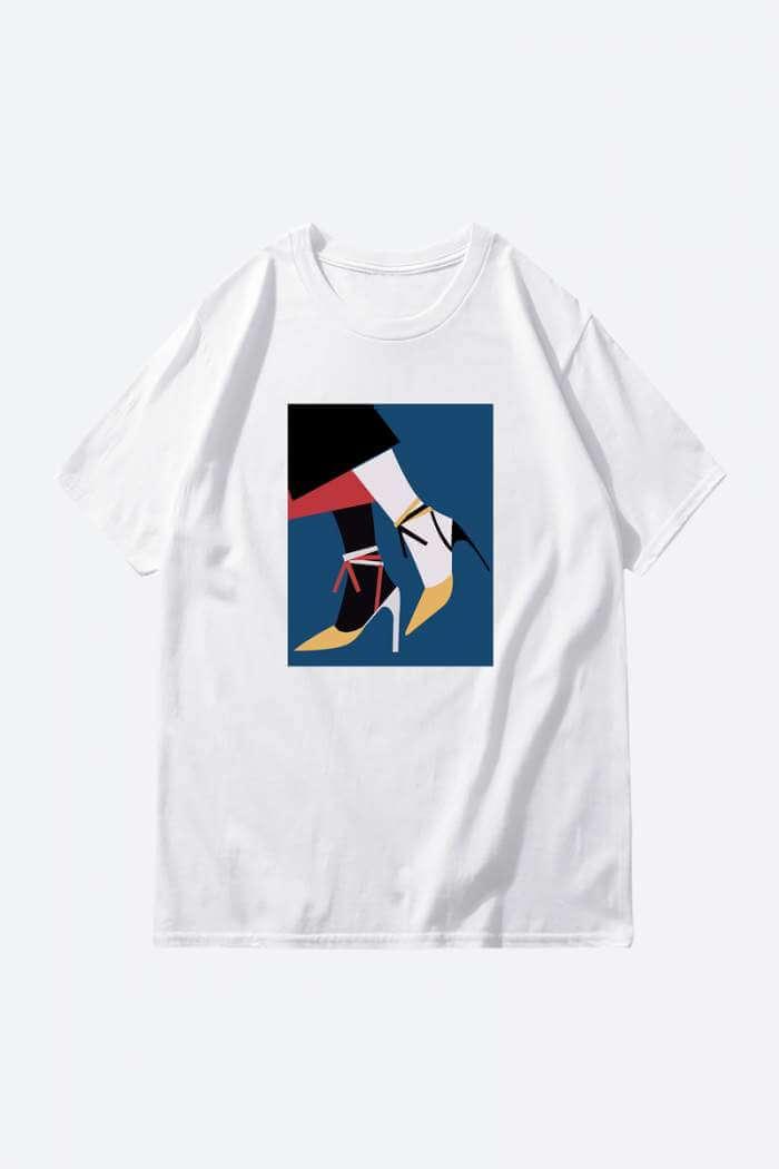 Heels printed minimalist white t shirt