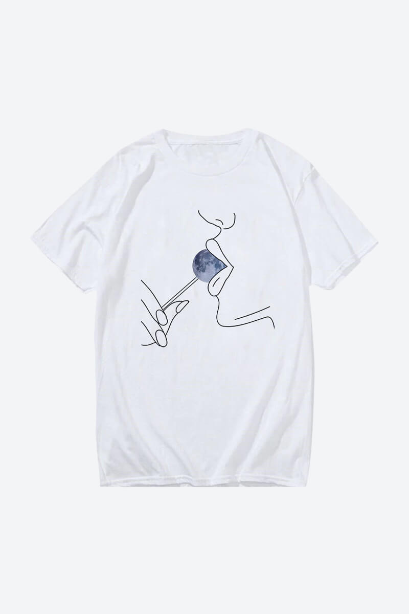Women's White Minimalist Line Art T-Shirts