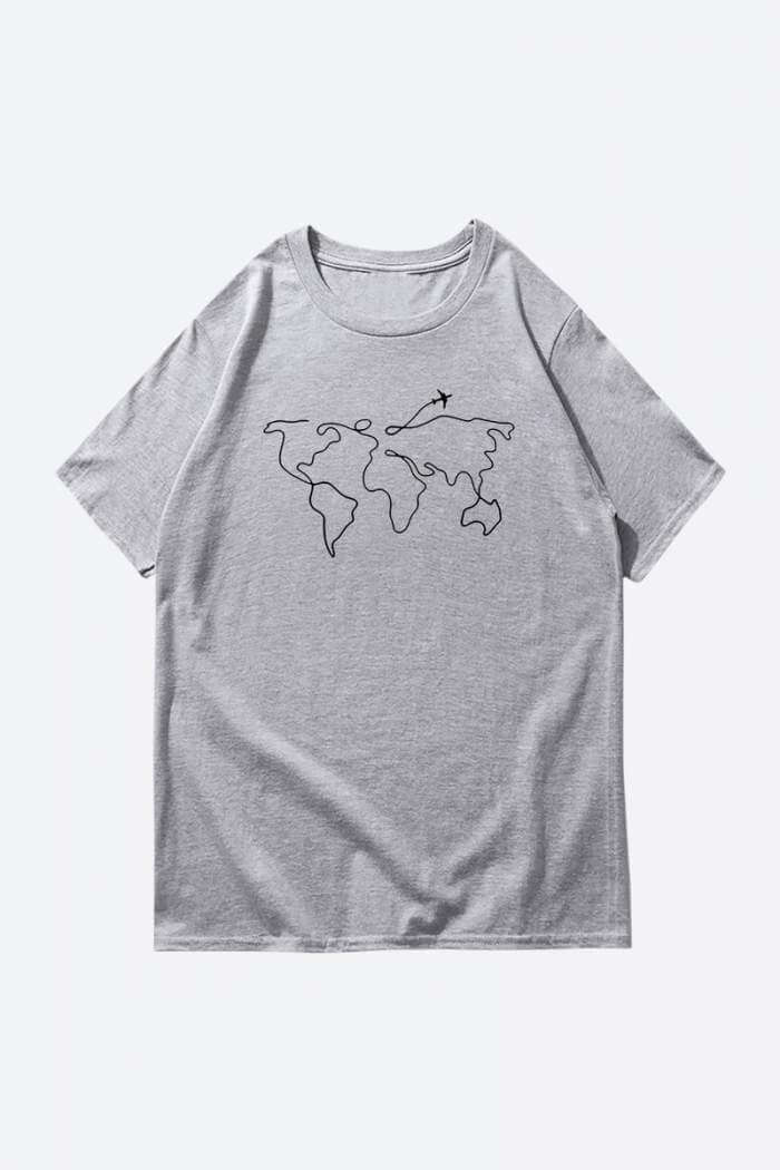 one line art grey drawing t shirt