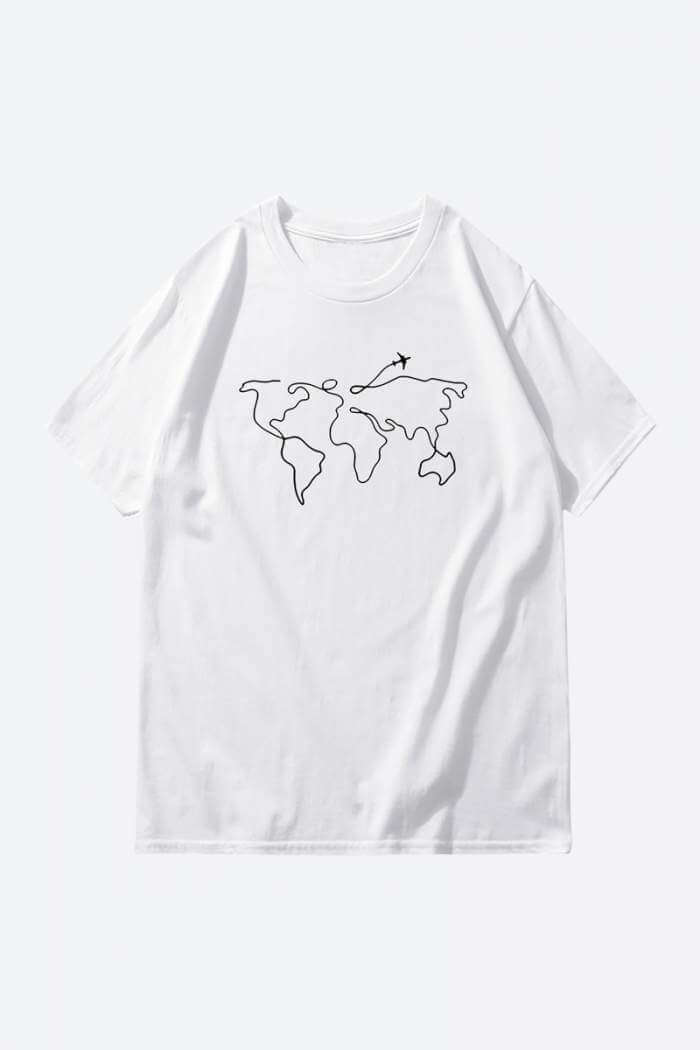 one line art white drawing t shirt
