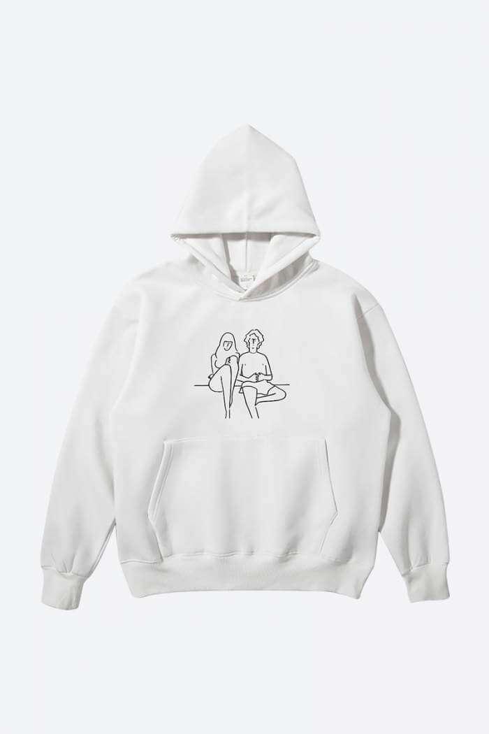 Buy Couple's White minimalist graphic hoodie