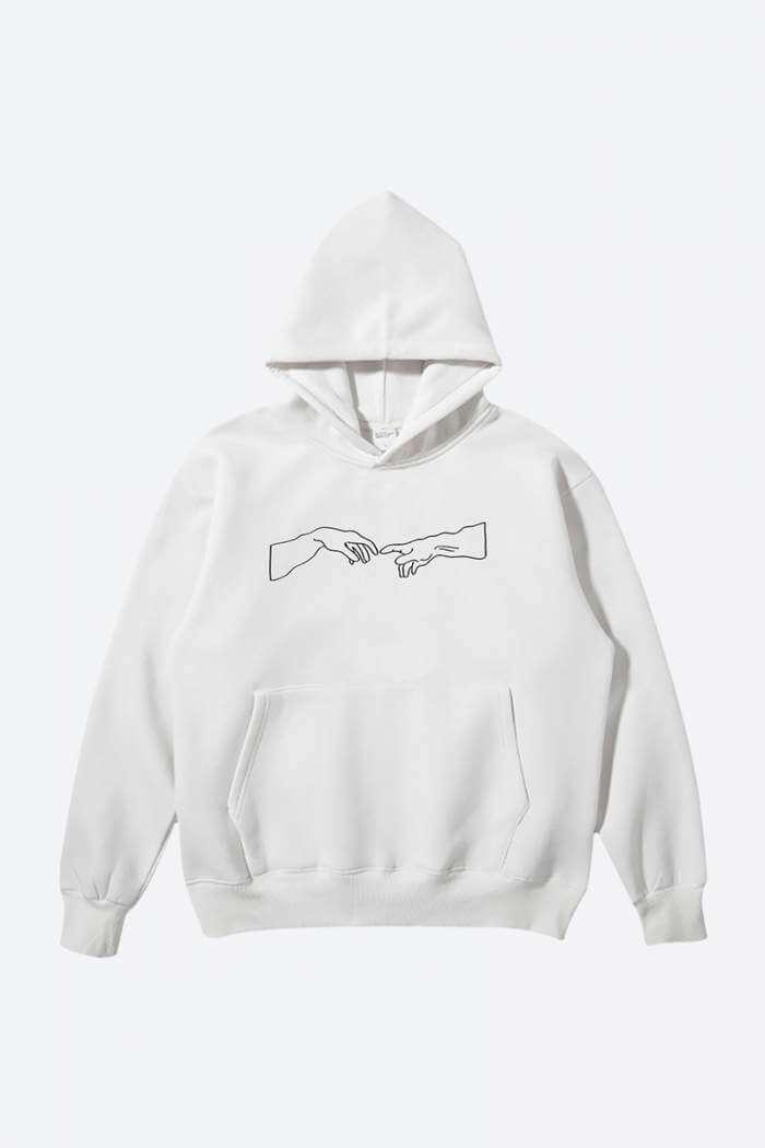 Simple One-Line Printed Hoodie