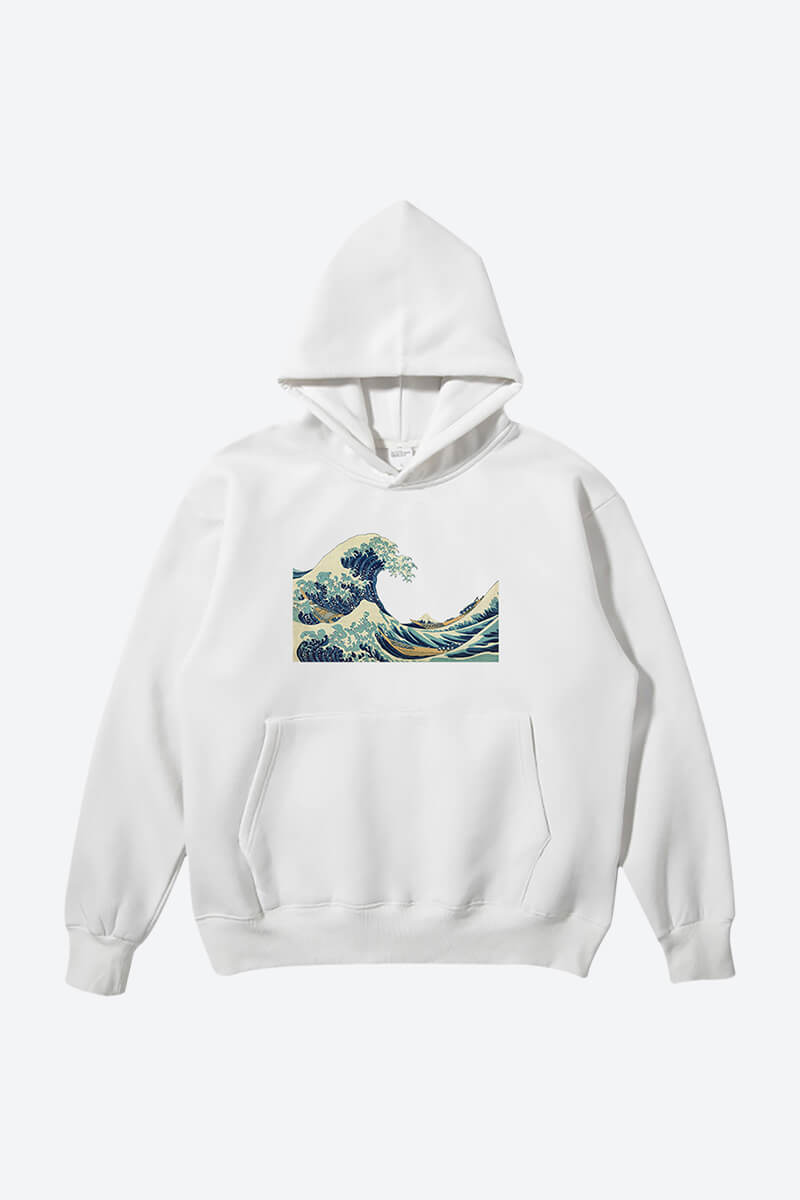 Get white wavy minimalist graphic hoodie